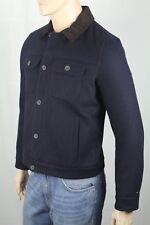 Tommy Hilfiger Navy Blue Wool Melton Jacket Coat Brown...