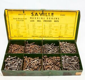 A Tin of Saville Machine Screws with Hex Pressed Nuts