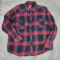 Wrangler Big Man Red Plaid Pearl Snap Front Shirt 3XL Mens XXXL Long Sleeve