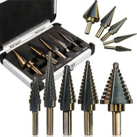 5pcs HSS Large Cobalt Hole Step Drill Bit Set Titanium Saw Cone Cutter Tools