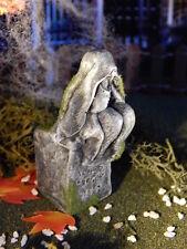 .Halloween TOMBSTONE, Woman SITTING Weeps In Hands, GRAVEYARD Statue for Dept 56