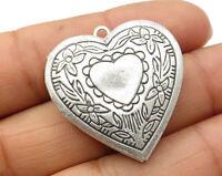 925 Sterling Silver - Vintage Floral Detail Love Heart Locket Pendant - P2922
