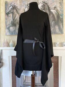 Karen Millen Size 3 Black Wool Blend Cape Jumper Fits UK 10 12 *mended*