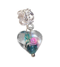 Murano Glass Heart Teal Blue Green Pink Flower Dangle Charm for Euro Bracelets