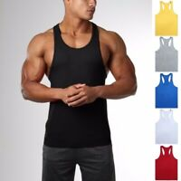 Men's Fitness Gym Muscle Fit Tank Top Bodybuilding Solid Cotton Sleeveless Vest