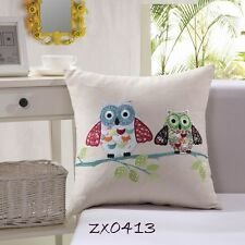 Vintage Owls Stitch Embroidered Decor Cotton CUSHION COVER PILLOW CASE 18""