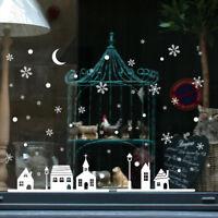 Navidad escaparate decoración pared pegatinas Navidad copos de nieve ciudad