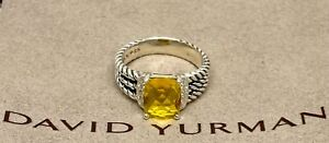 David Yurman 10 X 8MM Petite Citrine And Diamonds Wheaton Ring Size 8