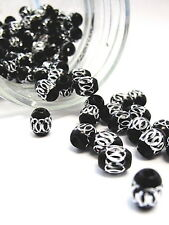 Aluminum Spacer Big Hole Bead Stainless Carved Oval 6x9mm 30pcs Black DIY Craft