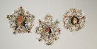 Vintage-style 3 Piece Tinsel SANTA CLAUS Christmas Ornament New in retro box