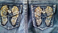 "GIRL'S JEANS SZ. 3/4 REG. ""PREMIERE"" RUE 21. LOW-RISE SLIM BOOT SEQUIN WINGS"