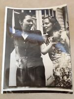 Vtg 1940s Two Women Cocktail Dressed Backyard Snapshot Smile Photograph Photo