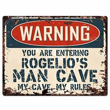 Pp3562 Warning Entering Rogelio'S Man Cave Chic Sign Home Decor Funny Gift