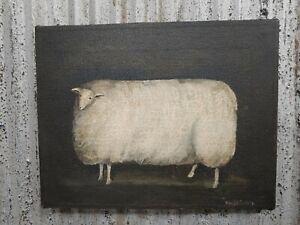 1986 Original Oil Primitive Sheep Painting by Mary Beth Baxter Wool Lamb Folk