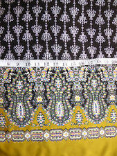 "Black & Gold Border Print Paisley Viscose Fabric 53"" Wide Dressmaking"