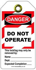Lock out Tag out Tags, Danger do not operate, LOTO, Pack of 10, RLTT50