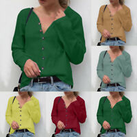 Women's Winter Fashion V-Neck Button Shirts Long Sleeve Simple Solid Top Blouse