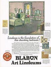 1920's BIG Vintage Blabon Art Linoleum Flooring Floor Interior Decor Print Ad c