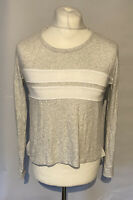 Women's Abercrombie & Fitch T Shirt Grey L/S XS 100% Cotton *Hole*