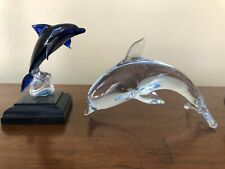 "Murano style hand blown art glass dolphin figurine 6"" + Mounted Dolphin"