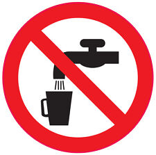 NOT DRINKING WATER health and safety signs office job shop 6No 50x50mm