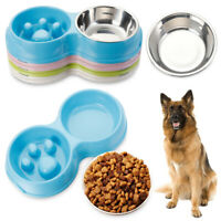 Slow Feeder Dog Double Bowls Stainless Steel Puppy Pet Cat Feeding Food Water