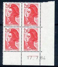 TIMBRE DE  FRANCE NEUF COIN DATE N° 2319 ** EN BLOC DE 4 /////  17/07/1984