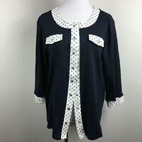 Christopher Banks XL Cardigan Knit Top Blue Polka Dot Trim Snap Up 3/4 Sleeves