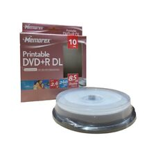 More details for 10 memorex dual layer dvd+r double dl 240min 8.5gb inkjet printable blank discs