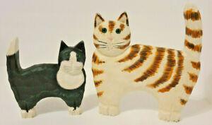James Haddon Wooden Cat Figurine Lot of 2 Signed Orange + Black White Set