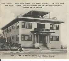 CB-290 CA, La Jolla, Altamar Apartments Divided Back Postcard Front View