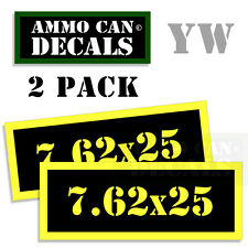 7.62 X 25 Ammo Can Box Decal Sticker bullet ARMY Gun safety Hunting 2 pack YW