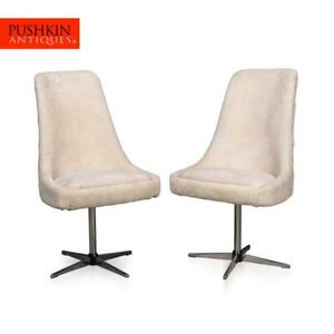 ELEGANT 20thC PAIR OF SWIVEL CHAIRS IN NATURAL SHEARLING c.1970