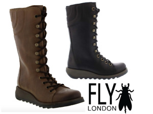 Fly London Ster Lace Up Inner Zip Black & Camel Boston Leather Comfort Boot