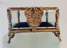 DEALER-RITA  Antique French Ormolu Bronze and glass Jewelry Box