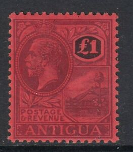 SG 61 Antigua 1918 £1 Purple & Black/Red. A fine unmounted mint example CAT £275