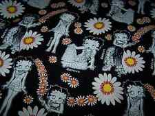 """RARE! BETTY BOOP WITH DAISIES ON BLACK - FQ - 18""""X22"""""""