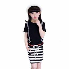 Robes noirs à longueur de manches manches courtes pour fille de 10 à 11 ans