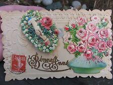 "1900 Happy New Year French Post card Victorian era scrap ephemera"" Bonne Annee"""