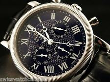 Invicta Men Elite Sapphire Mullti-Function Blue SS Black Leather Watch-RARE