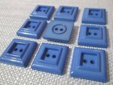30 x 17mm Blue Square 2 Hole Buttons