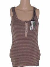 zara collection maglia canotta donna marrone righe stretch taglia eur s small