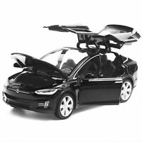 1:32 Diecast Model Car Tesla Model X90D SUV Sound&Light Toy BK Gift Collection