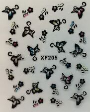 Nail Art 3D Decal Stickers Butterflies & Flowers with Rhinestones XF205