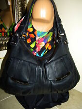 B Makowsky Black Leather Large Tote Shopper Handbag Shoulder Bag Purse