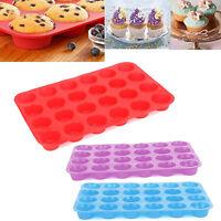 24 Cup Silicone Mini Muffin Bun Cupcake Baking Bakeware Mould Tray Pan Ki Hood