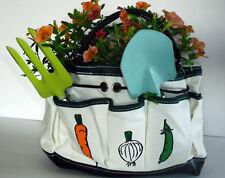 Small Khaki Canvas Yard Garden Tool Bag with 7 Pockets New