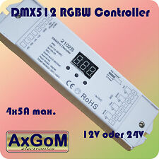 DMX 512 Decoder RGBW Controller - bis 4 x 5A PWM - max 480W - 12V+24V LED-Strip