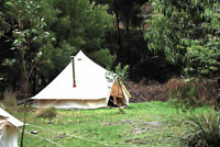 5M Canvas Bell Tent Glamping Camping Waterproof Family Tent Teepee Stove Jack