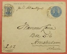 1910 ARGENTINA UPRATED STATIONERY COVER TO NETHERLANDS